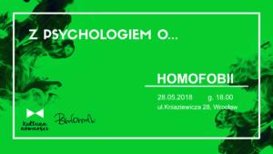 Grafika spotkania Z psychologiem o homofobiii