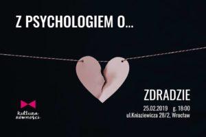 Grafika promocyjna spotkania Z psychologiem o zdradzie