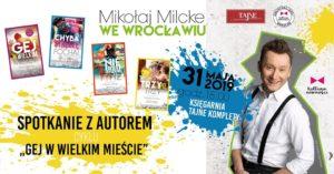 Plakat promujący nowe książki Mikołaja Milcke